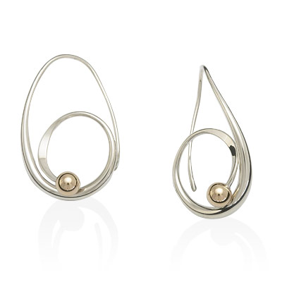 Ed Levin Earrings EA697 - BINDU EARRING - Sterling Silver with Gold Ball - Hawkins House Craftsmarket, Bennington, VT
