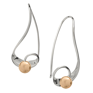 Ed Levin Earrings EA703 - MYSTIC - Sterling Silver with Gold Ball - Hawkins House Craftsmarket, Bennington, VT