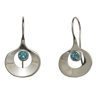 Ed Levin Earrings EA709 - DAWN - Sterling Silver with Blue Topaz - Hawkins House Craftsmarket, Bennington, VT