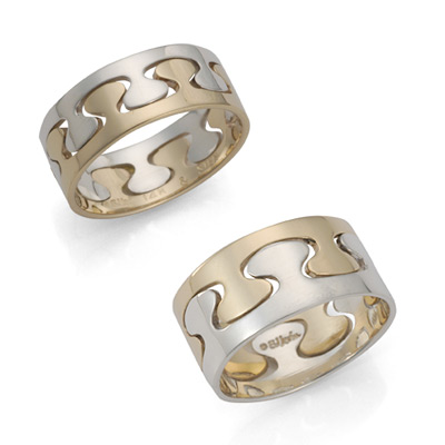 Ed Levin Rings RI216 - PUZZLE RING - Sterling Silver and 14K Gold in Narrow and Wide - Hawkins House Craftsmarket, Bennington, VT
