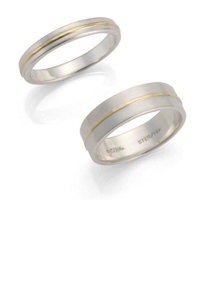 Ed Levin Rings RI334 - UNION BAND - Sterling Silver and 14K Gold in Narrow and Wide - Hawkins House Craftsmarket, Bennington, VT