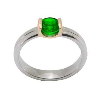 Ed Levin Rings RI351 - GEM ENCHANTMENT - Sterling Silver with 14K Gold Bezel and Faceted Peridot - Hawkins House Craftsmarket, Bennington, VT