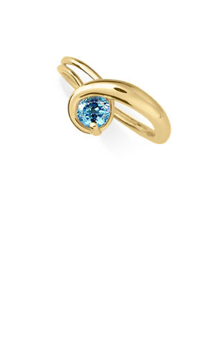 Ed Levin Rings RI357 - GEM ELEGANCE - 14K Gold with Blue Topaz - Hawkins House Craftsmarket, Bennington, VT