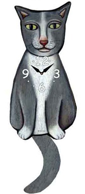 Pink Cloud Cat Clocks - Grey Tux - Hawkins House Craftsmarket, Bennington, VT
