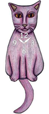 Pink Cloud Cat Clocks - Light Violet - Hawkins House Craftsmarket, Bennington, VT
