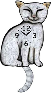 Pink Cloud Cat Clocks - White Siamese - Hawkins House Craftsmarket, Bennington, VT