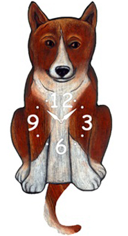 Pink Cloud Dog Clocks - Basenji - Hawkins House Craftsmarket, Bennington, VT