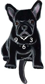 Pink Cloud Dog Clocks - Black French Bull - Hawkins House Craftsmarket, Bennington, VT