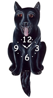 Pink Cloud Dog Clocks - Black German Shepherd - Hawkins House Craftsmarket, Bennington, VT