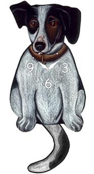 Pink Cloud Dog Clocks - Black Jack Russell - Hawkins House Craftsmarket, Bennington, VT