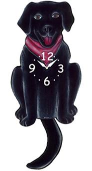 Pink Cloud Dog Clocks - Black Lab with Red Scarf - Hawkins House Craftsmarket, Bennington, VT