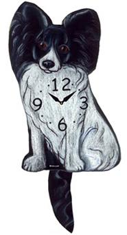 Pink Cloud Dog Clocks - Black Papillon - Hawkins House Craftsmarket, Bennington, VT