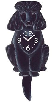 Pink Cloud Dog Clocks - Black Poodle - Hawkins House Craftsmarket, Bennington, VT