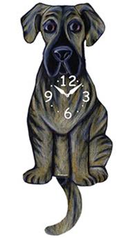Pink Cloud Dog Clocks - Brindle Dane - Hawkins House Craftsmarket, Bennington, VT