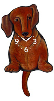 Pink Cloud Dog Clocks - Brown Dox - Hawkins House Craftsmarket, Bennington, VT