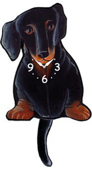 Pink Cloud Dog Clocks - Black & Tan Dox - Hawkins House Craftsmarket, Bennington, VT
