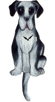 Pink Cloud Dog Clocks - Black & White Dane - Hawkins House Craftsmarket, Bennington, VT