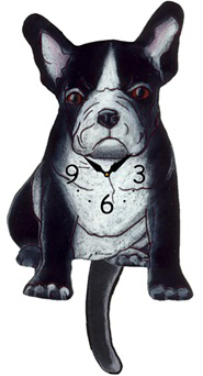 Pink Cloud Dog Clocks - Black & White French Bull - Hawkins House Craftsmarket, Bennington, VT