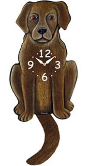 Pink Cloud Dog Clocks - Chocolate Lab - Hawkins House Craftsmarket, Bennington, VT