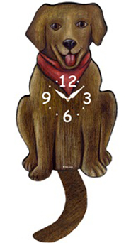 Pink Cloud Dog Clocks - Chocolate Lab with Red Scarf - Hawkins House Craftsmarket, Bennington, VT