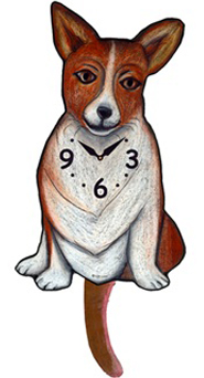 Pink Cloud Dog Clocks - Corgi - Hawkins House Craftsmarket, Bennington, VT