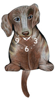 Pink Cloud Dog Clocks - Dapple Dox - Hawkins House Craftsmarket, Bennington, VT
