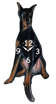 Pink Cloud Dog Clocks - Doberman - Hawkins House Craftsmarket, Bennington, VT