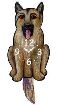 Pink Cloud Dog Clocks - German Shepherd - Hawkins House Craftsmarket, Bennington, VT