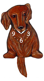 Pink Cloud Dog Clocks - Long Hair Brown Dox - Hawkins House Craftsmarket, Bennington, VT