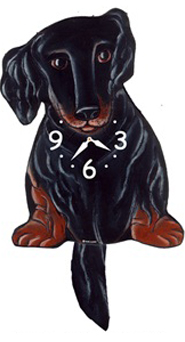 Pink Cloud Dog Clocks - Long Hair Black & Tan Dox - Hawkins House Craftsmarket, Bennington, VT