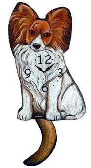 Pink Cloud Dog Clocks - Red Papillon - Hawkins House Craftsmarket, Bennington, VT