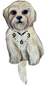 Pink Cloud Dog Clocks - Shi Poo - Hawkins House Craftsmarket, Bennington, VT