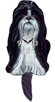 Pink Cloud Dog Clocks - Long Hair Shih Tzu - Hawkins House Craftsmarket, Bennington, VT