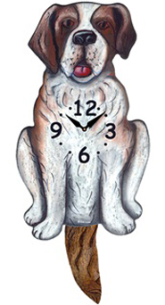 Pink Cloud Dog Clocks - St. Bernard - Hawkins House Craftsmarket, Bennington, VT
