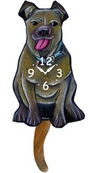 Pink Cloud Dog Clocks - Tan Floppy Ear Pitbull - Hawkins House Craftsmarket, Bennington, VT