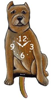 Pink Cloud Dog Clocks - Tan Pointed Ear Pitbull - Hawkins House Craftsmarket, Bennington, VT