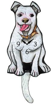 Pink Cloud Dog Clocks - White Floppy Ear Pitbull - Hawkins House Craftsmarket, Bennington, VT