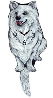 Pink Cloud Dog Clocks - White Husky - Hawkins House Craftsmarket, Bennington, VT