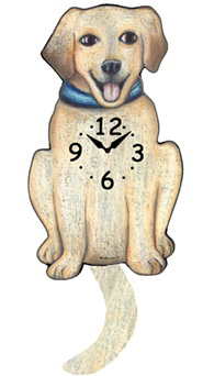 Pink Cloud Dog Clocks - White Lab - Hawkins House Craftsmarket, Bennington, VT