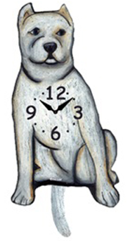 Pink Cloud Dog Clocks - White Pointed Ear Pitbull - Hawkins House Craftsmarket, Bennington, VT