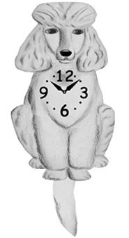 Pink Cloud Dog Clocks - White Poodle - Hawkins House Craftsmarket, Bennington, VT